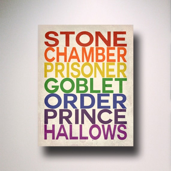 Harry Potter Rainbow Titles Typography Poster / Wall Art / Harry Potter Poster