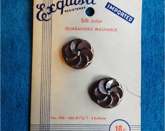 2 Exquisite Vintage Buttons on Card