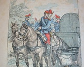 French Army Horse Prints x 5 c1900 War Horse Military Militaire