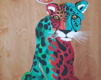 """print of """"Leopard in Frog's Clothing""""  painting"""