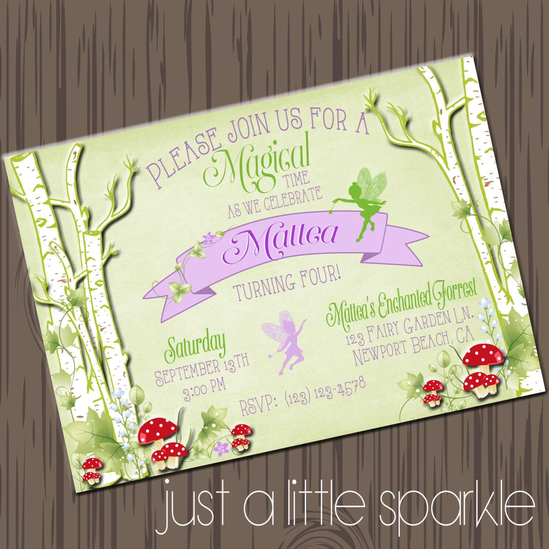 Printable Fairy Invitations Printable Woodland Fairy Invite