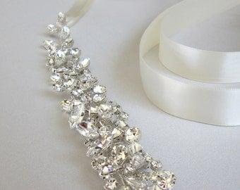 Swarovski floating crystal belt, Bridal belt sash, Crystal sash, Wedding Sash, Swarovski belt sash, Ribbon sash, Rhinestone belt