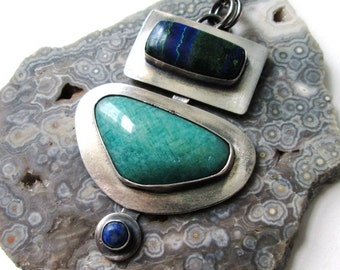 Amazing Azurite Malachite Lapis and Amazonite Stones in a Sterling and Fine Silver Modern Necklace Jewelry