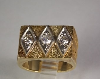 1970s Diamond Ring .62Ctw Yellow Gold 14K 11.7 gm Size 10 Custom Design New Old Stock