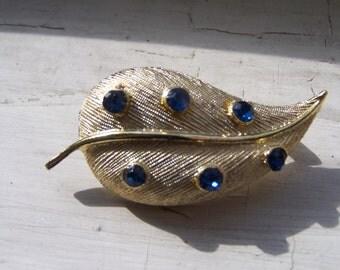 Vintage Blue Rhinestone Gold Metal Leaf Pin Brooch