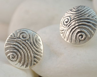 Spiral Design Solid Sterling Silver Stud Earrings inspired by ancient Greek motifs