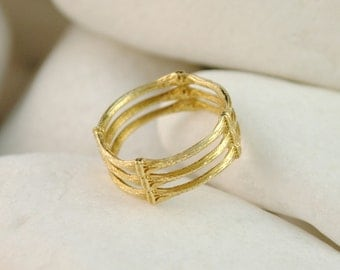 18K Gold Ring - 'Bamboo'