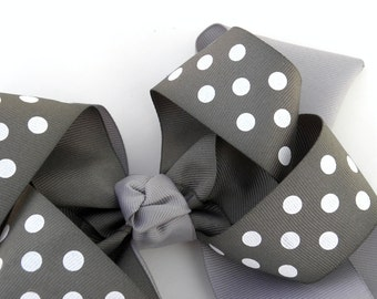 Gray Hair BowClip:  Big Boutique Bow in Charcoal and Light Gray with Polkadots - Available With Free Headband