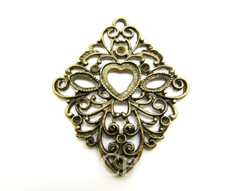 Antique Bronze Tone Diamond Shaped Decorative Line With Center Heart Base Charms 45x37mm - 10Pcs - DC00117