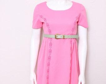 MOVING SALE - Vintage Bubblegum Pink High Waisted Mini Dress, Sixties Fashion