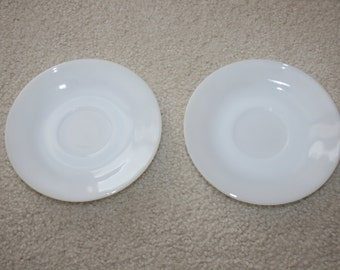 Vintage The Federal Glass Company Fire Proof Heat Proof White Milk Glass Two Saucers