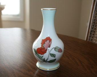 Vintage Palissy Fine China Bud Vase Cream Ivory Gold Orange Green Royal Worchester Company