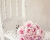 Ballerina Roses- Bouquet of Roses Photograph- Still Life Photo- Pale Pink Roses- White Chair- Pink White- Pastel Floral Art 8x10 Photo Print
