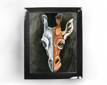 Giraffe Art, Skull Print, Any Size, Zoo Animal, Large Wall Art, Nature Poster, Wildlife Illustration, Goth Decor, Taxidermy Art