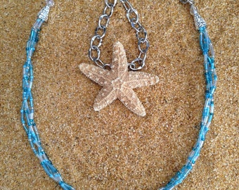Blue Beaded Necklace // Multistrand Necklace // Handmade Beaded Necklace
