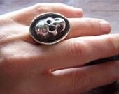 Sterling Silver Heavy Metal Biker Skull Ring