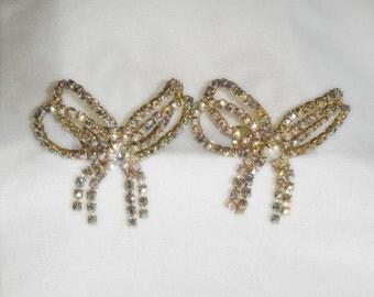 Rhinestone Shoe Clips - Aurora Borealis - Pair signed Musi - Vintage 1960s