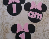 Minnie Mouse Medium Pink Letters  I am 1 Die Cuts DIY Kids Crafts Birthday Party Highchair Baby Banners