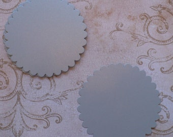 10 pc  Large Scallop Circles Die Cuts cut from Silver Shimmer Cardstock 4 DIY Banners, Rustic Wedding Tags Crafts Labels