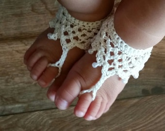 Baby Barefoot Sandals With Beads- Crochet Baby Barefoot Sandals- Beaded Barefoot Sandals- Baby Shoes-  Baby Girl Barefoot Sandals with Beads