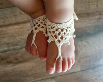 Baby Barefoot Sandals - Crochet Baby Barefoot Sandals - Baby Beach Sandals- Baby Shoes- Toddler Barefoot Sandals- Baby Girl Barefoot Sandals