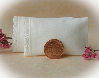 Dollhouse Miniature Set of 2 Ivory Pillows with Swiss Embroidered Trim  - 1/12 scale
