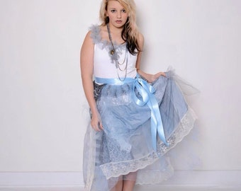 Teen Girl's Junior Bridesmaid Dress Shabby Chic Silver Gray Light  Blue Dress