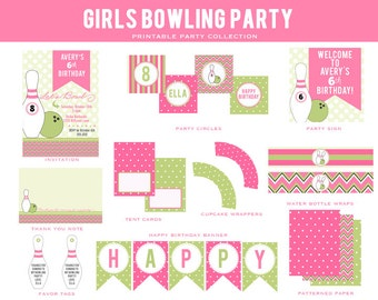 GIRLS BOWLING CHEVRON Birthday Party Collection - Pink , Black, Green - Customized Party Package