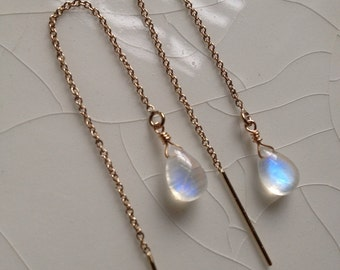 20% offf and Free Shipping - Small Smooth Rainbow Moonstone Pear/Briolette Drop and Gold Filled Threader/Ear Thread  Earrings
