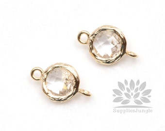 F145-G-CL// Gold Framed Clear Crystal Faceted Round Glass Connector, 2 pcs
