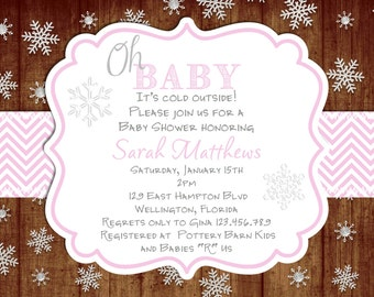 Rustic Pink Chevron Oh Baby Winter Baby Shower Invitation Printable Design