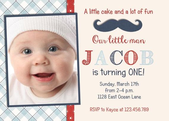 Little Man Mustache Boy Birthday Invitation