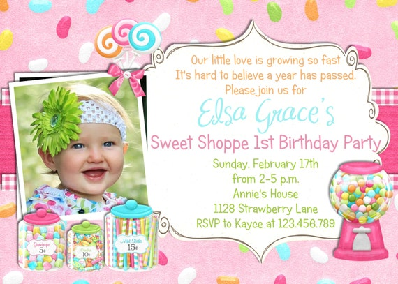 Pink Candy  Shoppe Party Birthday Invitation - Printable Photo Invite