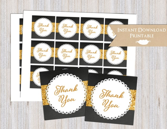 Bridal Shower Chalkboard Black and Gold Glitter Printable Thank You Favor Tags