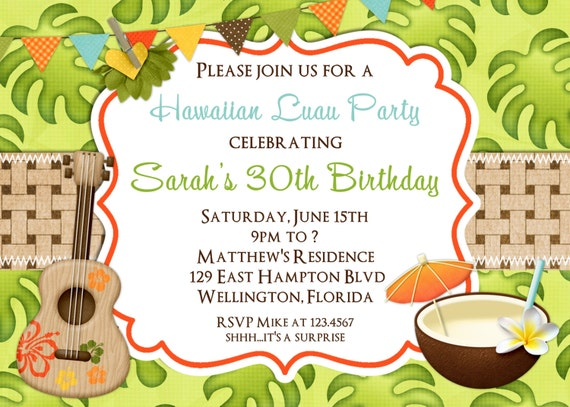 Luau birthday party invitations wblqual tropical hawaiian luau adult birthday party invitation by birthday invitations filmwisefo