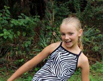 Thin Zebra Stripe Print Girls Racerback Swimsuit Bathing Suit Thin Strap