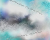 Digital Scrapbook Paper-Clouds, Instant Download Background, Blue Sky Background, Cloud Paper, Card Supplies, Clip Art