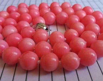Free shipping - 17 inch 8mm pink Coral analogues necklace & earring set