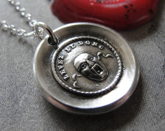 Mask wax seal necklace - Dare - antique French wax seal jewelry -Mask II