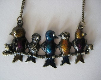 Birds on a Branch Statement Peice Necklace