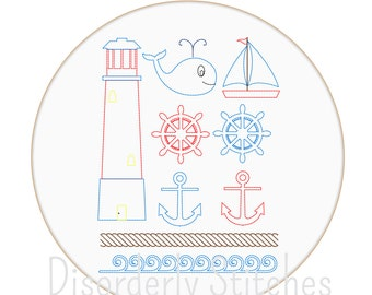 Nautical Set Hand Embroidery PDF Pattern Instant Download