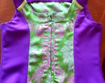 Royal purple and green brocade zip front show vest