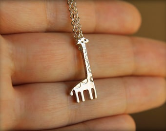 Tiny Giraffe Necklace, Available in Silver or Gold