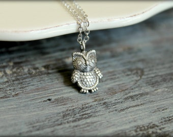 Diamond-Eyed Owl Necklace in Antiqued Silver