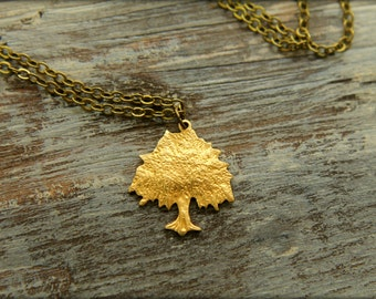 Weeping Willow Necklace in Raw and Aged Brass
