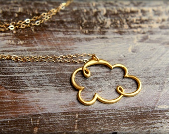 Openwork Puffy Cloud Necklace in Vermeil and Gold-filled
