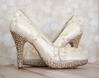 Lace Wedding Shoes -- Ivory Platform Wedding Heels with Ivory and Gold Lace Overlay and Ivory Pearl and Gold Rhinestone Heel and Platform