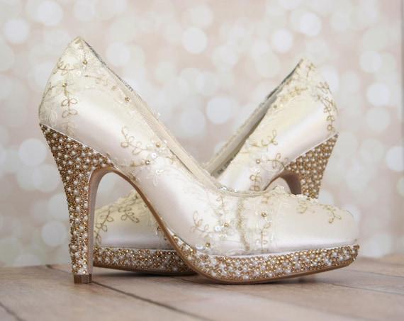 Wedding High Heels Ivory: Wedding Shoes Ivory Platform Wedding Heels With Ivory And
