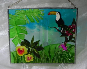 Tropical Toucan in rainforest window decoration