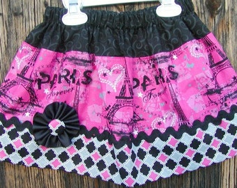 Girls skirt, Infant skirt, toddler skirt, Custom..Paris Forever..sizes newborn  to 10 girls